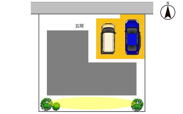 北向きの駐車場2