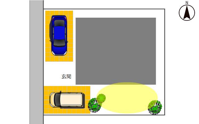 西向きの駐車場2