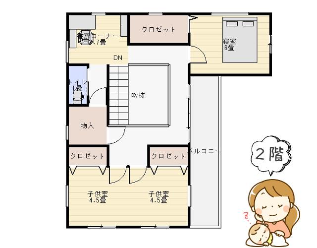縁側と吹き抜けのある家の間取り2階