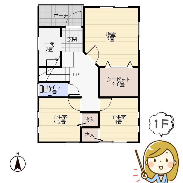 収納たっぷり狭小住宅の間取り1階