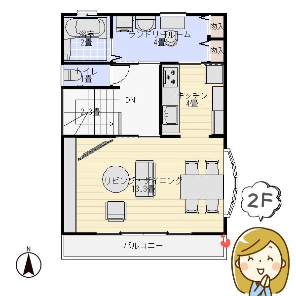 収納たっぷり狭小住宅の間取り2階