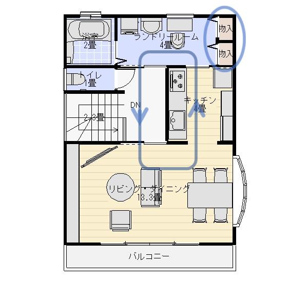 家事動線上の収納