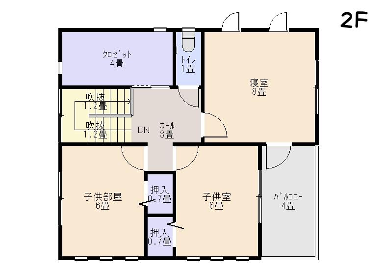 家を安く建てる間取り2階