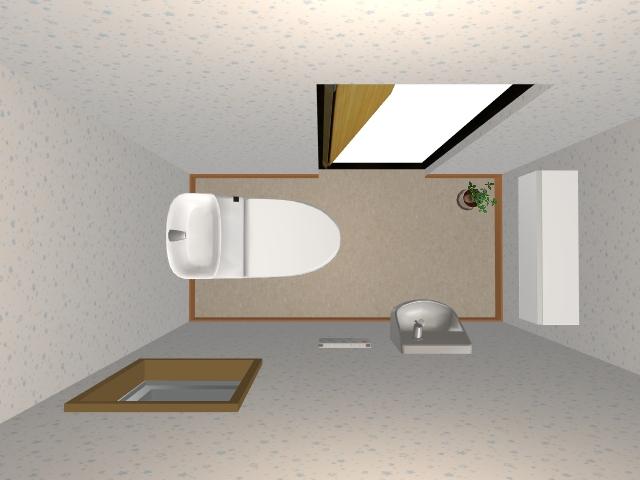 廊下に水平配置のトイレ