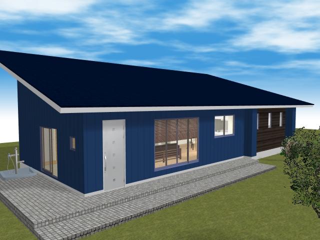 3LDK平屋の青い外観