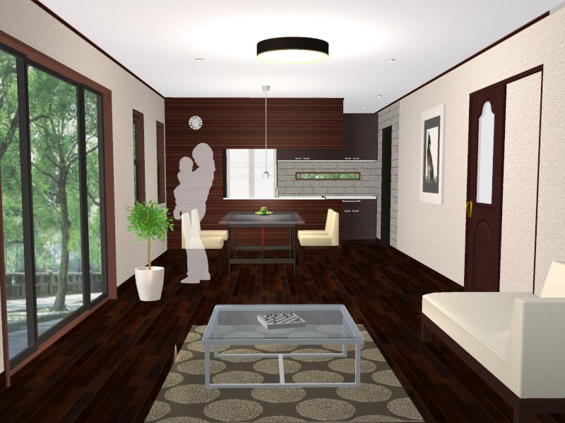 対面キッチン(天袋あり)のイメージ