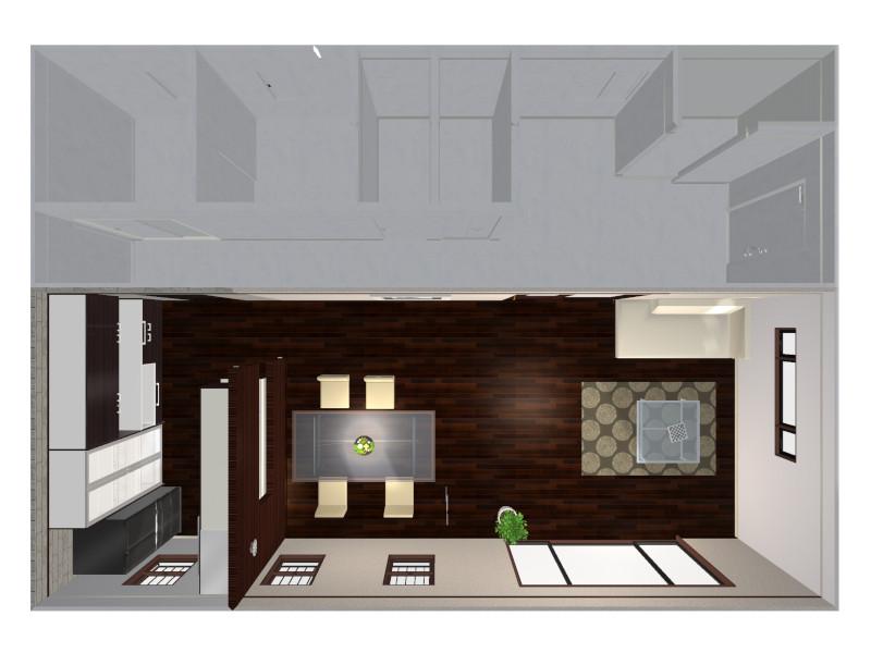 対面キッチンの鳥瞰図