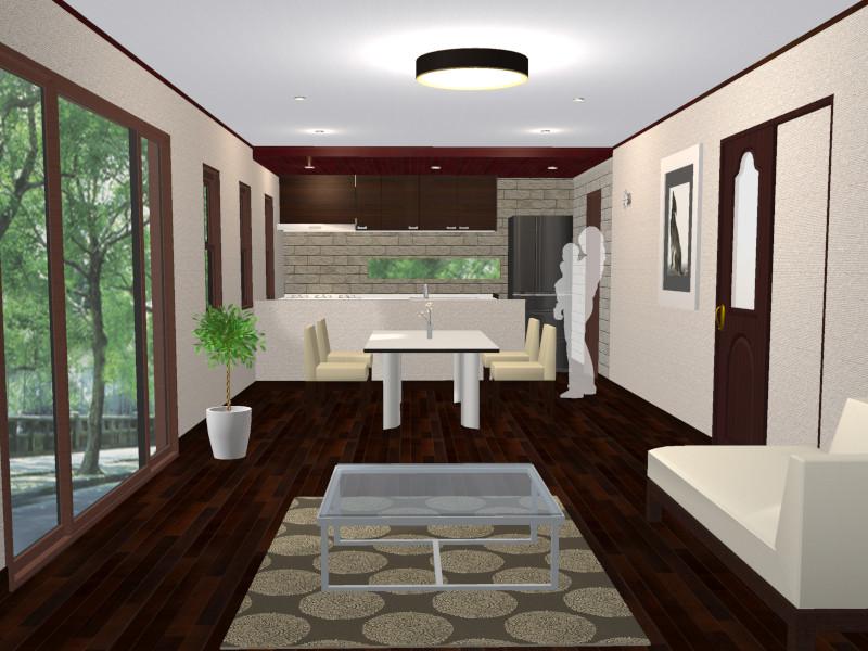 壁付キッチン開放型