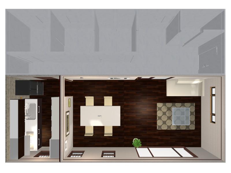 壁付キッチン独立型鳥瞰