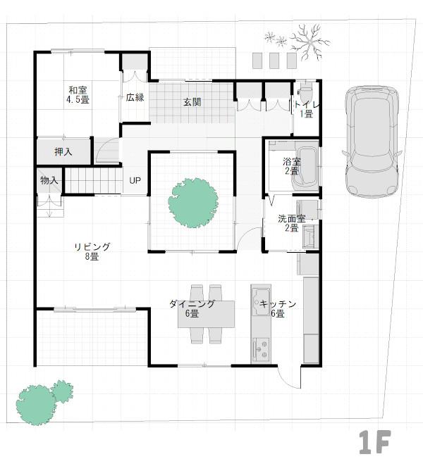 「ロの字」間取りの家1階