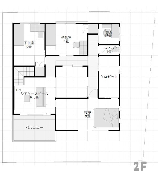 「ロの字」間取りの家2階