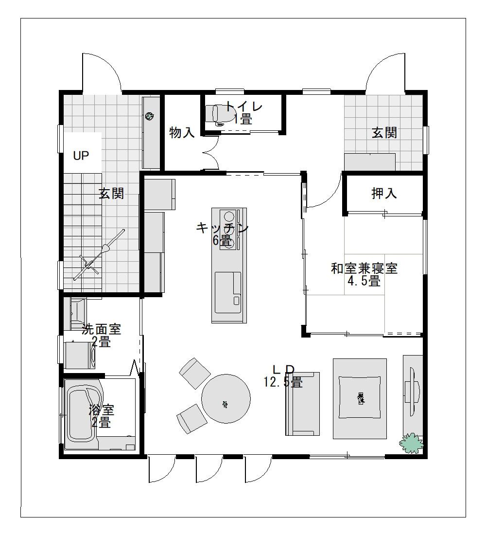 30坪に建てる二世帯住宅の間取り1F