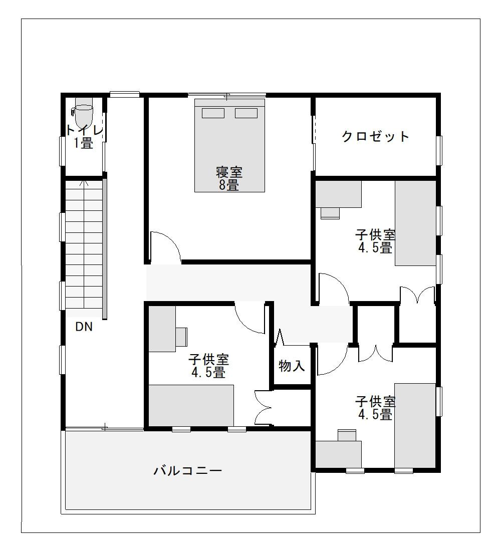 30坪に建てる二世帯住宅の間取り3F