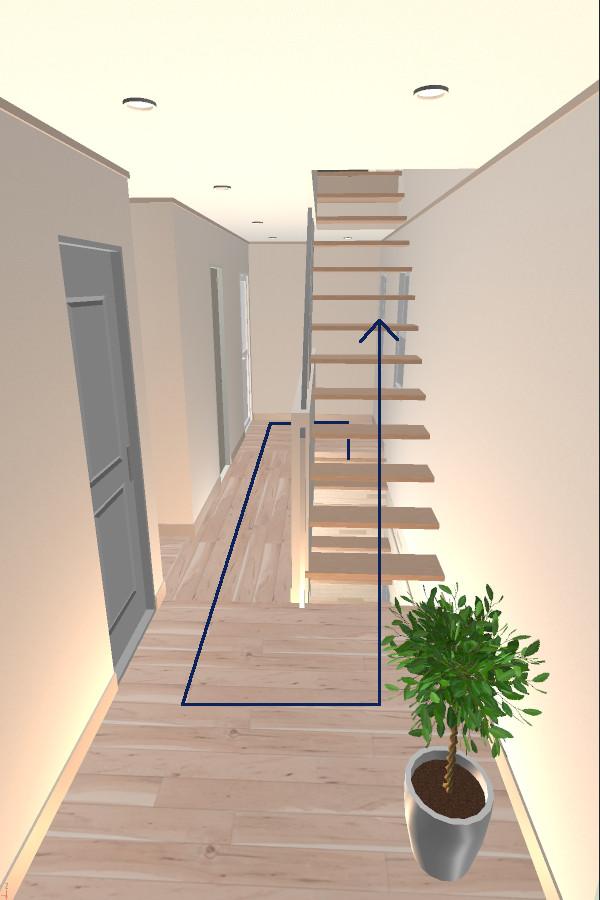 二世帯住宅の階段室