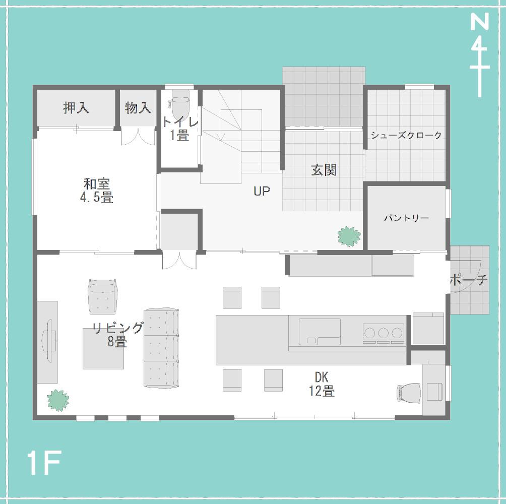 2階にフリースペースと水回りがある間取り1F