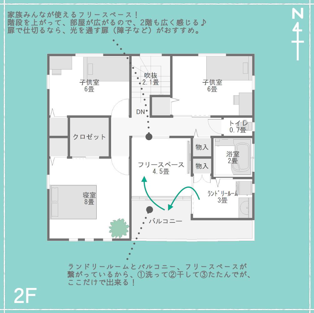 2階のフリースペースと水回り