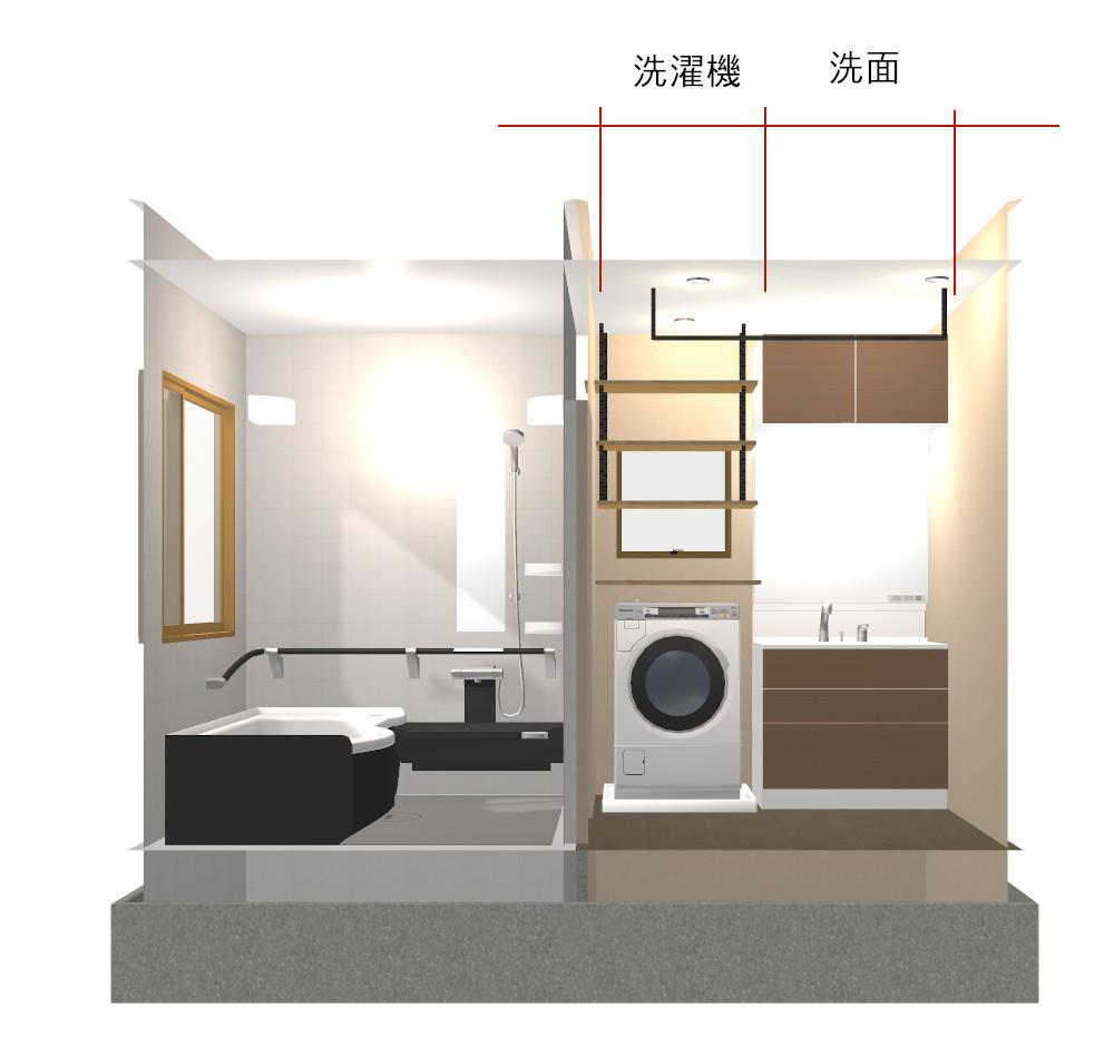 2畳洗面所の内観パース