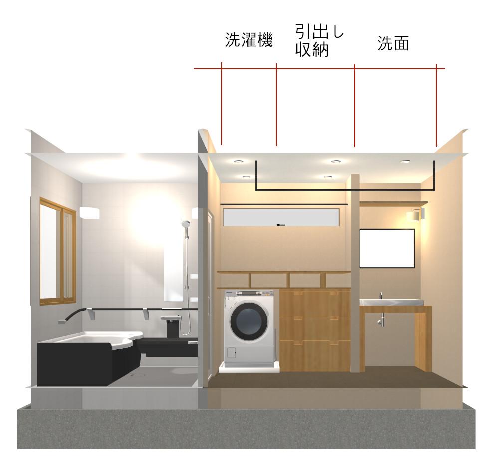 洗濯機と同じ高さの収納がある洗面所