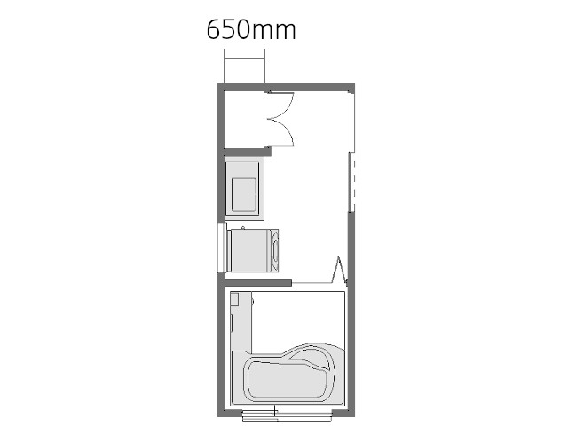 3畳扉付き収納のある洗面所