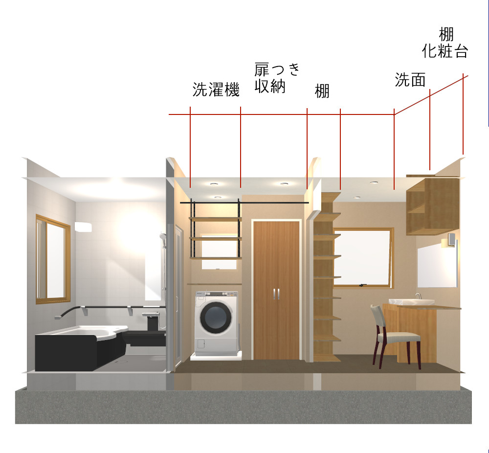 4畳パウダールームのある洗面所内観