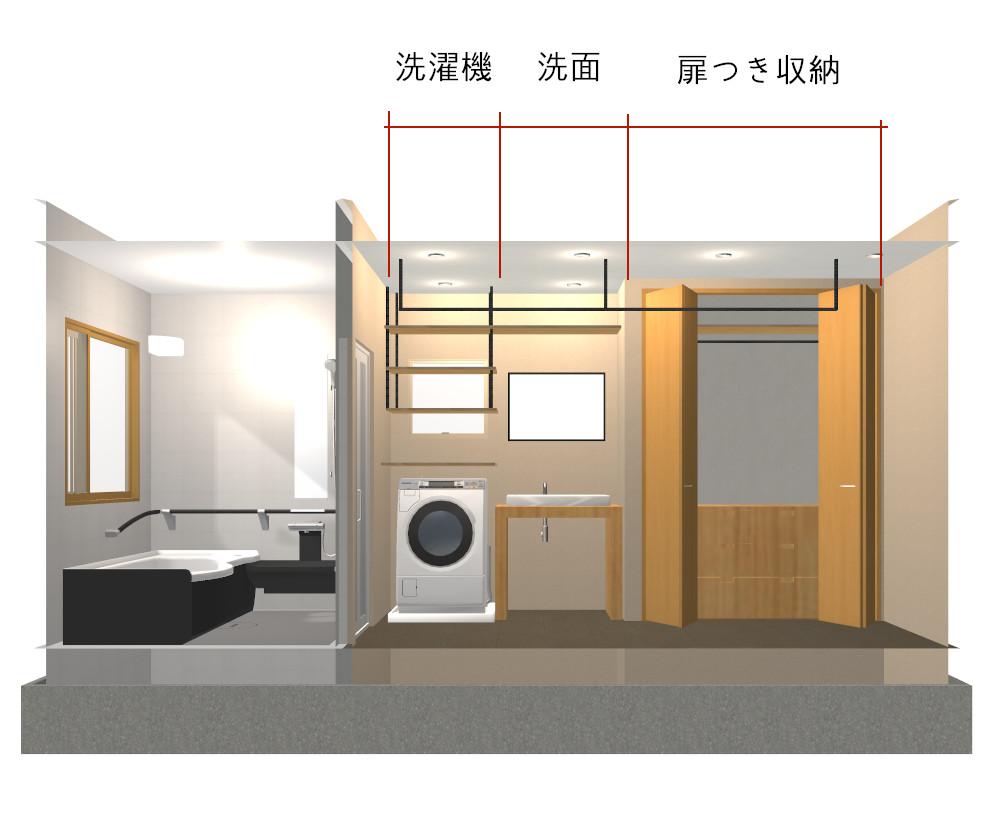 4畳扉付き収納のある洗面所平面図