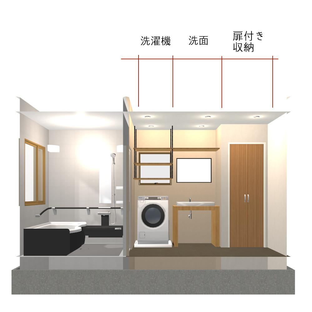 3畳扉付き収納のある洗面所内観