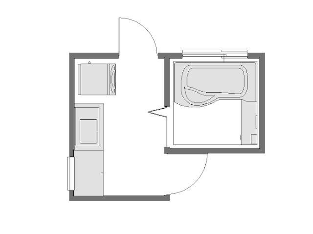 3畳勝手口のある洗面所平面図