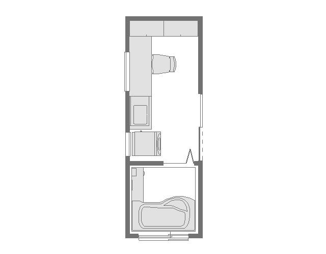 4畳アイロン台のある洗面所平面図