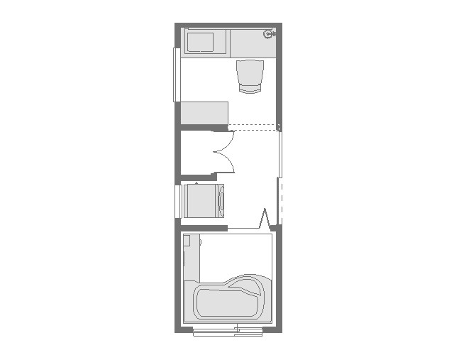 パウダールームのある洗面所平面図