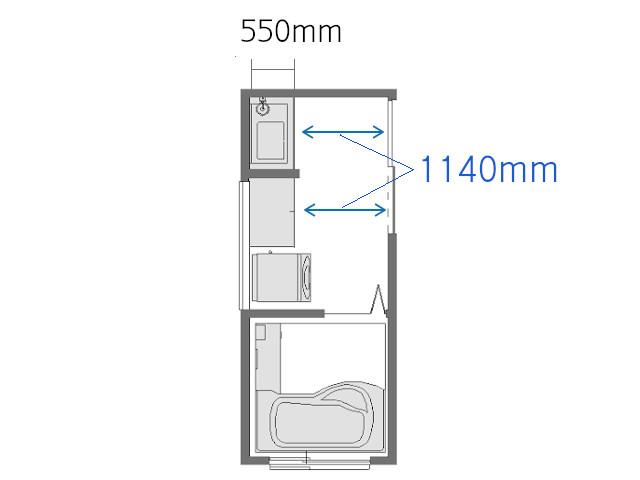 3畳収納付きの洗面所