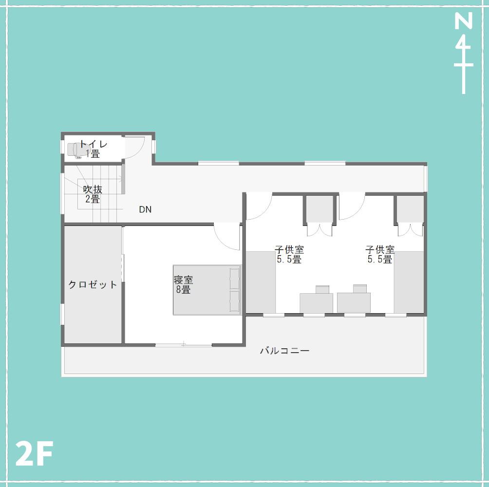 和モダンスタバみたいな内装の家2F