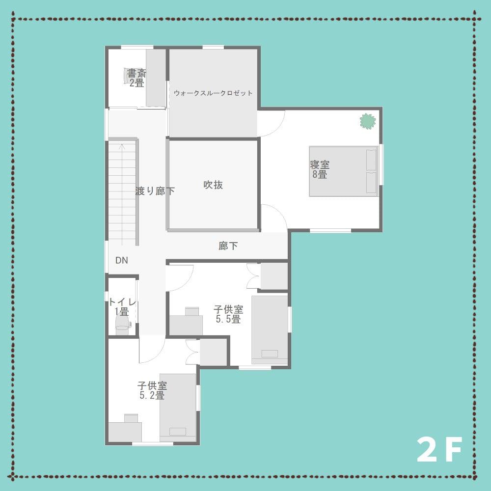 三角の家の間取り2F