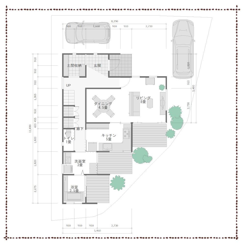 三角の家の間取り配置図
