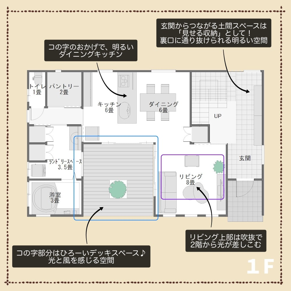 旗竿地の家1F解説