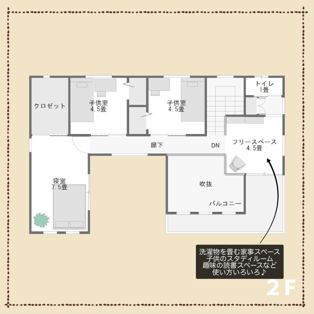 旗竿地の家2F解説