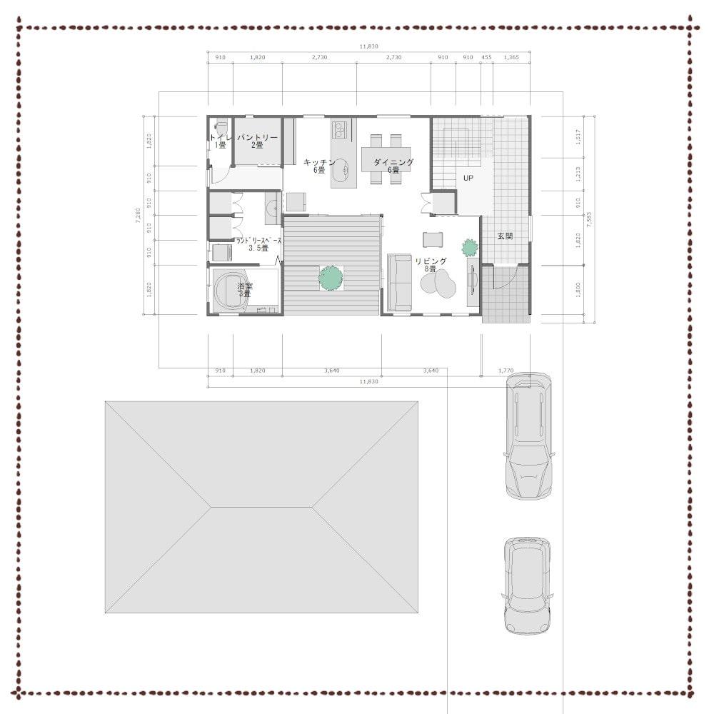 旗竿地の家配置図
